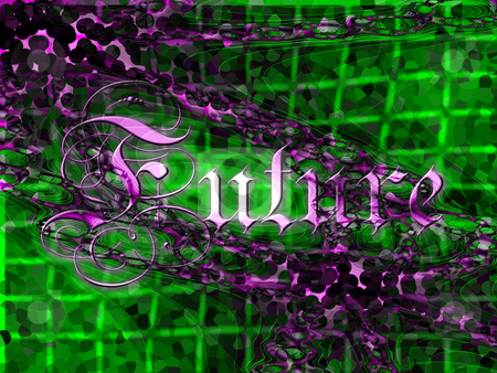 Futuristic 3d Purple on Green Pixelated Fractal Texture With Tex stock photo, Futuristic 3d Purple on Green Pixelated Fractal Texture With Text saying Future by Robert Davies