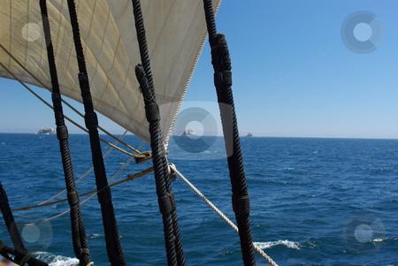 Rocky Farallon Islands Off California stock photo, Three of the Farallon Islands viewed through the rigging of a sailing ship. by Lynn Bendickson