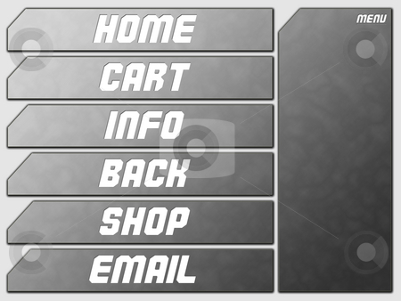 Grey Futuristic Website Navigation Stone Buttons stock photo, Grey Futuristic Website Navigation Stone Buttons Home Cart Infor Back Shop Email by Robert Davies