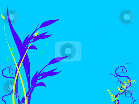 Underwater Grasses Growing On Sea Ocean Bed stock photo, Underwater Foliage Growing On Sea Ocean Bed with  a light Blue Tone and Green and Purple Flowers Plants Grass Illustration Design by Robert Davies