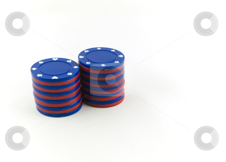 Red And Blue Poker Chips on White Background stock photo, Red And Blue Poker Chips on White Background by Robert Davies