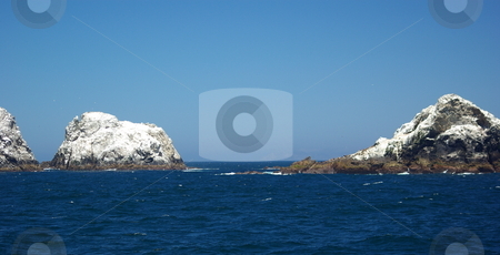 Farallon Islands California stock photo, Some of the smaller Farallon Islands covered in white bird guano. by Lynn Bendickson