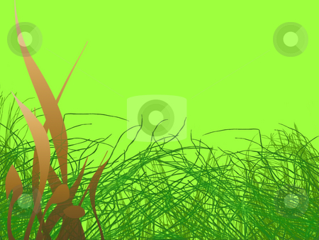Green Grass Strands and Brown Leafy Pattern stock photo, Green Grass Strands and Brown Leafy Pattern on light Green Background by Robert Davies