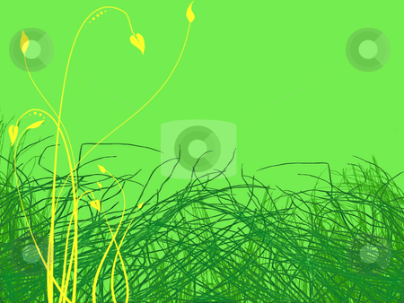 Green Grass and Yellow Flowers Illustration stock photo, Green Grass and Yellow Flowers Illustration on Cool Green Background by Robert Davies