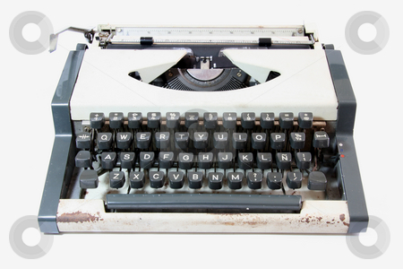 Old typewriter  stock photo, Front view of an old manual typewriter by Jonas Marcos San Luis