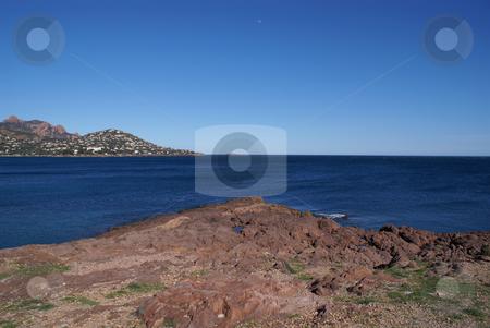 Esterel stock photo, Red rock and blue sea for the Mediterranean coast in French Riviera. Esterel Coast by Serge VILLA