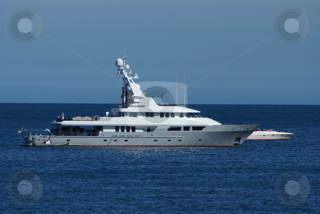 Motor Boat stock photo, A yatch  in Antibes (French Riviera - France) by Serge VILLA