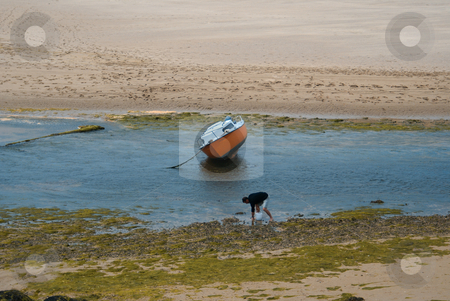 Fisherman stock photo, A fisherman collecting shells on a Brittany beach by Serge VILLA