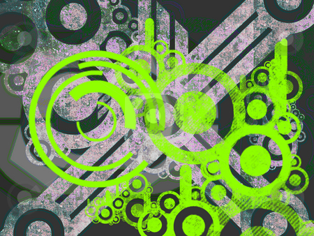Bright Green Environmental Machine Parts stock photo, Bright Green Environmental Machine Parts Over Dark Grey Greenish Abstract background Illustration by Robert Davies
