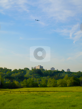 English Summer Field Meadow With Buildings in Background stock photo, English Summer Field Meadow With Buildings in Background by Robert Davies