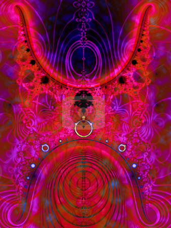 Pink Fractal Design With Circles and Planet Objects stock photo, Pink Fractal Design With Circles and Planet Objects on Blue Background Very Saturated by Robert Davies