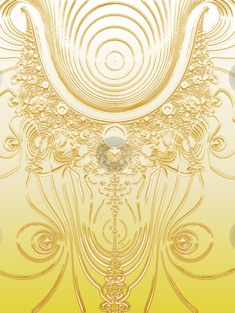 Gold Plated Science Fiction Style Fractal stock photo, Gold Plated Science Fiction Style Fractal Design Illustration Pattern by Robert Davies