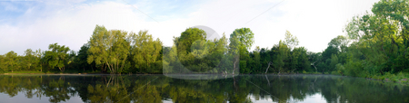 Panoramic Lake Pond With Trees and Reflection stock photo, Panoramic Lake Pond With Trees and Reflection at Dawn in British Summer by Robert Davies
