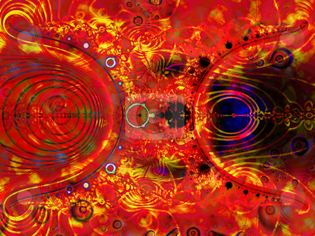 Psychadelic Fractal Background Design stock photo, Bright Red Flame Effect Psychadelic Fractal Background Design by Robert Davies