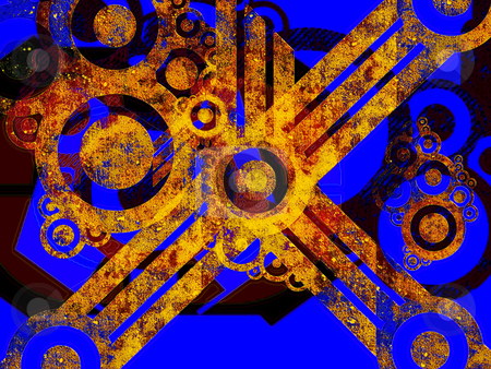 Rusted Industrial Machine Parts stock photo, Rusted Industrial Machine Parts over Blue Abstract Illustration by Robert Davies
