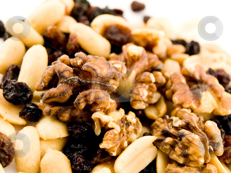 Close Up Walnuts Peanuts and Dried Fruit on White Background stock photo, Close Up Walnuts Peanuts and Dried Fruit on White Background Macro Near by Robert Davies