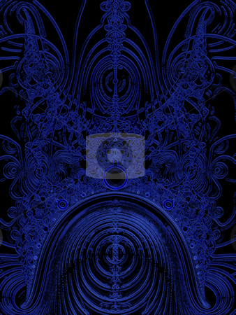 Dark Blue Solar System Fractal stock photo, Dark Blue Solar System Fractal With 9 Planets and Orbital Patterns by Robert Davies