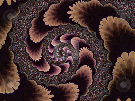 Brown Fractal Spiral 2d Pattern stock photo, Brown Fractal Spiral 2d Pattern Looks like wallpaper from the 50s to 70s era by Robert Davies