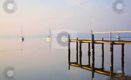 Tranquility stock photo, A peaceful morning over the calm waters of St. Georges Bay on Tasmania by Mike Dawson