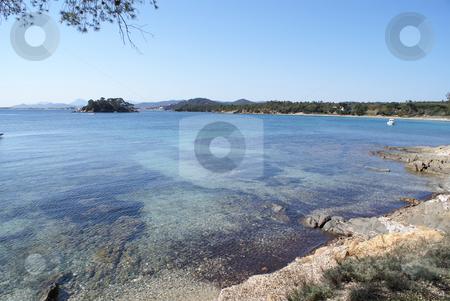 Mediterranean coast stock photo, Beach near the town of