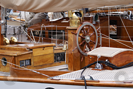 Wood Marine stock photo, Luxuous old boat in Cannes Marina by Serge VILLA