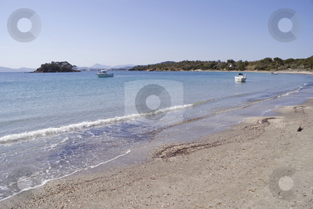 Mediterranean coast stock photo, Beach near the town of