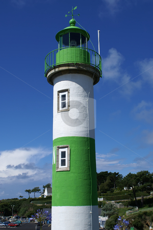 Light House stock photo, White and Green houseLight of Douelan in Brittany coast by Serge VILLA