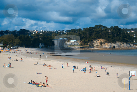 Morgat Beach stock photo, Large beach of sand in the little village of Morgat in Brittany by Serge VILLA