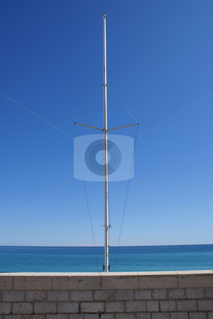 Mast stock photo, Mast used for regatta against the Horizon by Serge VILLA
