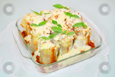 Baked white lasagna stock photo, Baked lasagna in tomato and white creamy sauce by Jonas Marcos San Luis