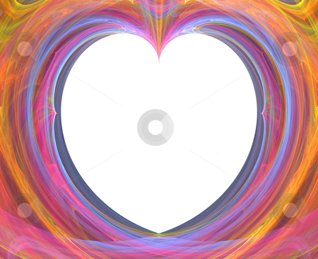 Background stock photo, Abstract heart - shaped flame on the white background by Petr Koudelka