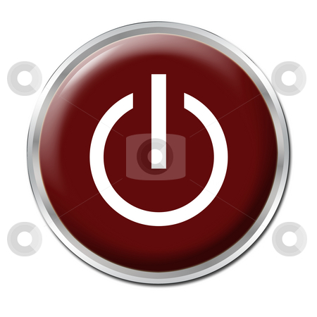On/Off Button stock photo, Red button with the symbol On/Off by Petr Koudelka