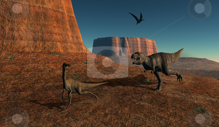 The chase stock photo, Tyrannousaurus Rex chasing Gallimimus. by Annika Str?