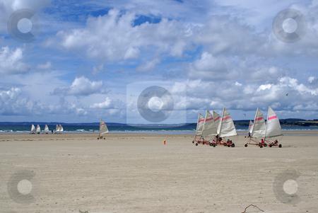 Windcar stock photo, A windcar race on a Brittany beach by Serge VILLA