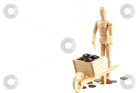 Savings Investment stock photo, Concept moving money in a wheelbarrow going to the bank by Jack Schiffer