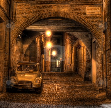 Citroen on Via Delle Volte stock photo, Taken on one of the oldest streets in Ferrara. by James Rose