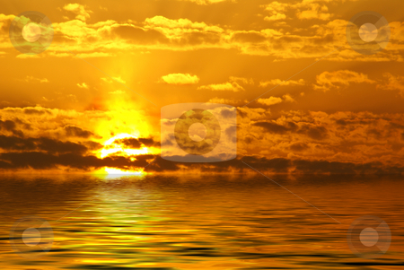 Sunrise stock photo, Sunrise over the sea by Serge VILLA