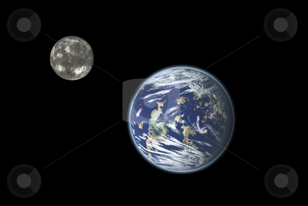 System Earth-Moon stock photo, Earth-Moon system illustration by Serge VILLA