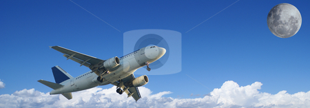 Trip to the Moon stock photo, Illustration of an airplane flying to the moon by Serge VILLA