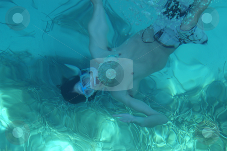 Snorkeling stock photo, Free diving in a Mediterranean blue lagoon (Provence, French riviera) by Serge VILLA