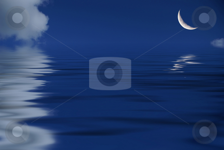 Moon reflexion stock photo, Cloudy blue sky with the moon by Serge VILLA