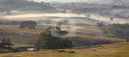 Adelaide Hills Countryside stock photo, The morning fog rising over the Hills of Adelaide, Australia. by Mike Dawson