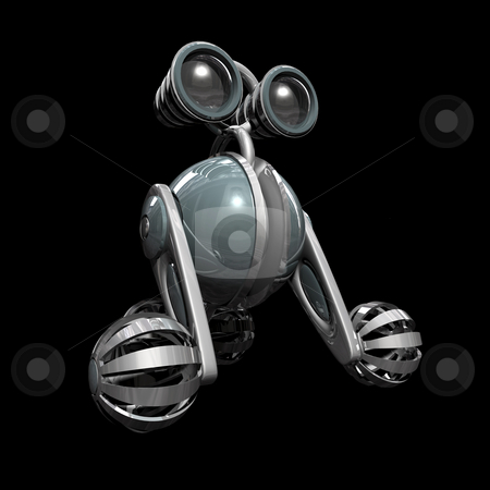 Robot stock photo, 3D robot 1 on black background with reflection by John Teeter
