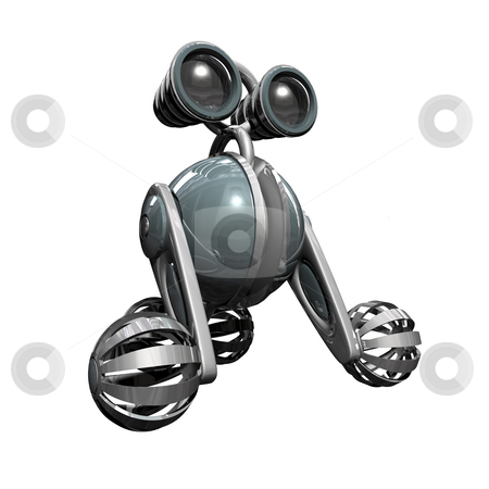 Robot stock photo, 3D Robot on white background with reflections 1 by John Teeter