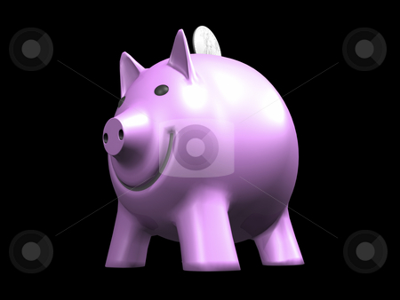 Pink Piggy Bank with coin stock photo, Pink Piggy Bank with coin on black background 3D image by John Teeter