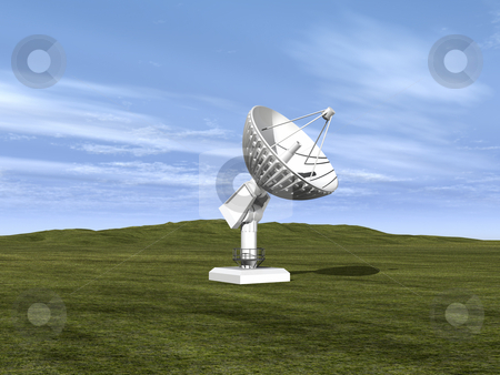 Satellite dish  stock photo, White satellite dish with sky in background 3D by John Teeter