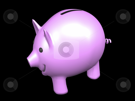 Pink Piggy Bank stock photo, Pink Piggy Bank on black background. 3D image by John Teeter
