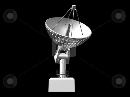 Satellie Dish stock photo, White satellite dish on black background 2. 3D image by John Teeter
