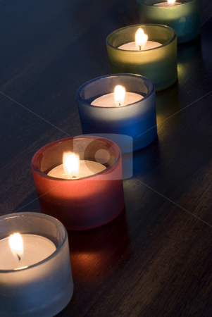 Tealights stock photo, A set of 5 tea light candles by Stephen Gibson