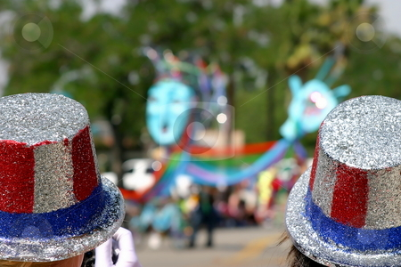 4th July hats stock photo, Two usa patriotic hats at a 4th o July parade by Henrik Lehnerer